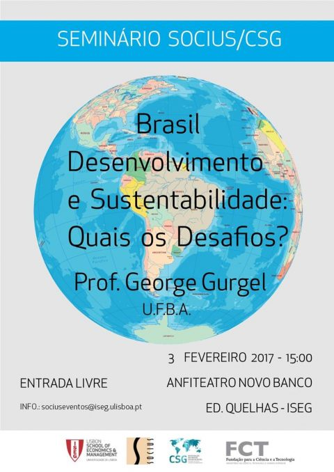 "3 FEB 2017 | Seminar ""Brazil – Development and Sustainability: Which Challenges?"""