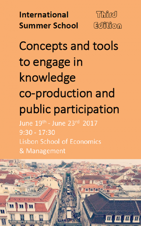 "19-23 JUN 2017 | Summer School ""Concepts and tools to engage in knowledge co-production and public participation"""