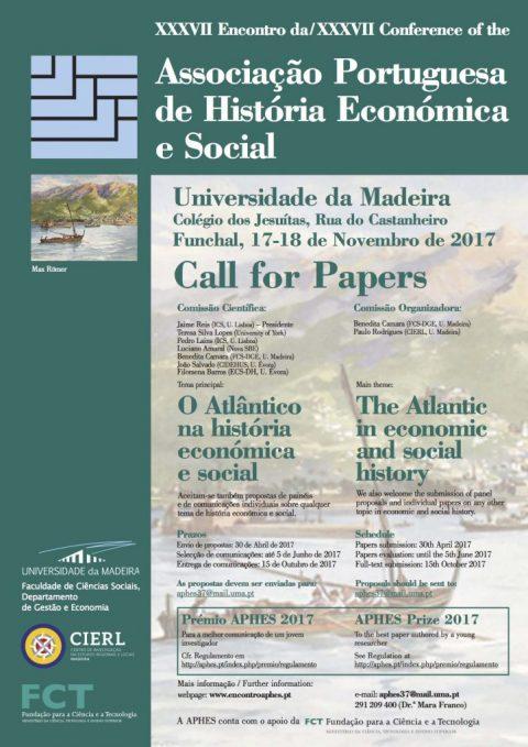 17-18 NOV 2017 | XXXVII Encontro da Associação Portuguesa de História Económica e Social – Chamada para participação (prazo prorrogado)