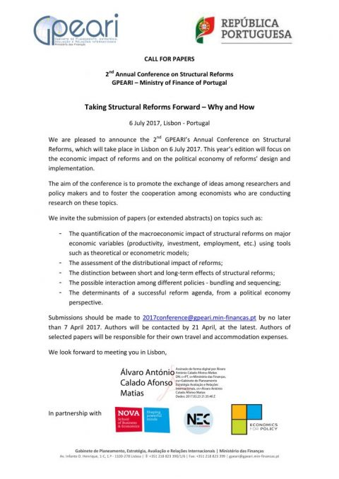 6 JUL 2017 | GPEARI's 2nd Annual Conference on Structural Reforms – Call for papers