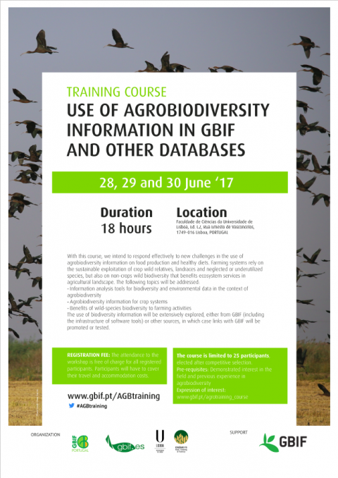 28-30 JUN 2017 | Training course: Use of Agrobiodiversity information in GBIF and other databases – Inscrições abertas