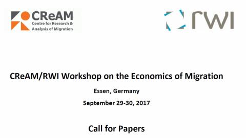 29-30 SET 2017 | CReAM/RWI Workshop sobre Economia da Migração – Chamada para participação