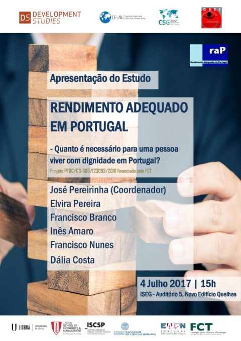 "4 JUL 2017 | Presentation of the Study: ""Adequate Income in Portugal: how much is necessary for a person to live with dignity in Portugal?"""