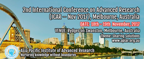 18-19 NOV 2017 | 2nd International Conference on Advanced Research (ICAR-Nov 2017) – Call for papers