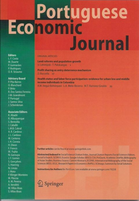 Portuguese Economic Journal: Special Issue on Economic Policy in Portugal: Competition, Innovation, and Competitiveness and Internationalisation