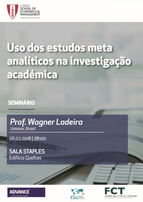6 FEV 2018 | Seminário ADVANCE | Uso dos Estudos Meta-Analíticos na Investigação Académica