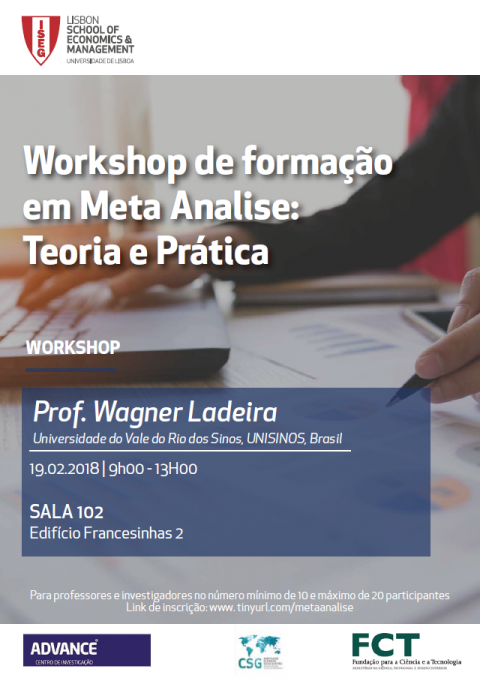 19 FEB 2018 |  Workshop on Meta-Analysis Training: Theory and Practice, by Wagner Ladeira (Professor of Unisinos, Brazil)