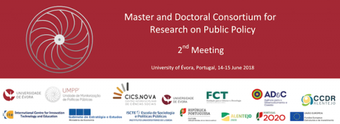 14-15 JUN 2018 | 2nd Meeting of the UMPP Master and Doctoral Consortium on Research on Public Policy | Universidade de Évora – Call for papers