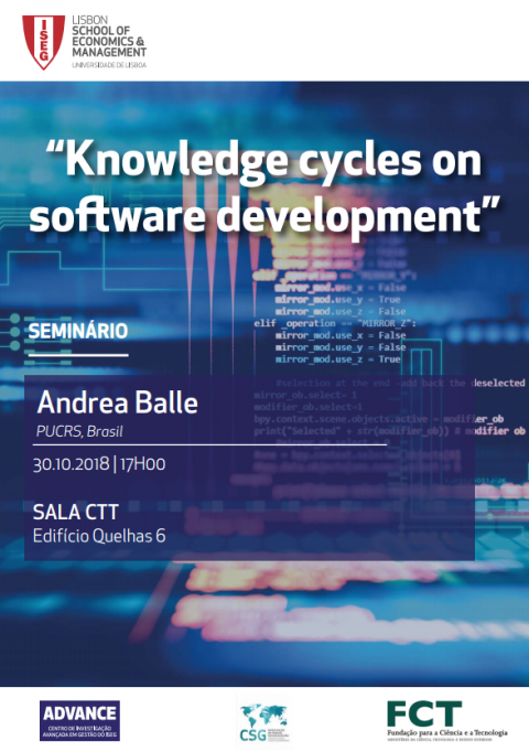 "30 OUT 2018, ISEG | Seminário ""Knowledge Cycles on Software Development"""