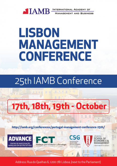 17-19 OUT 2018, ISEG | 25ª IAMB Conference: Lisbon Management Conference