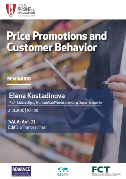"21 NOV 2018, 16h | Seminário ""Price Promotions and Customer Behavior"