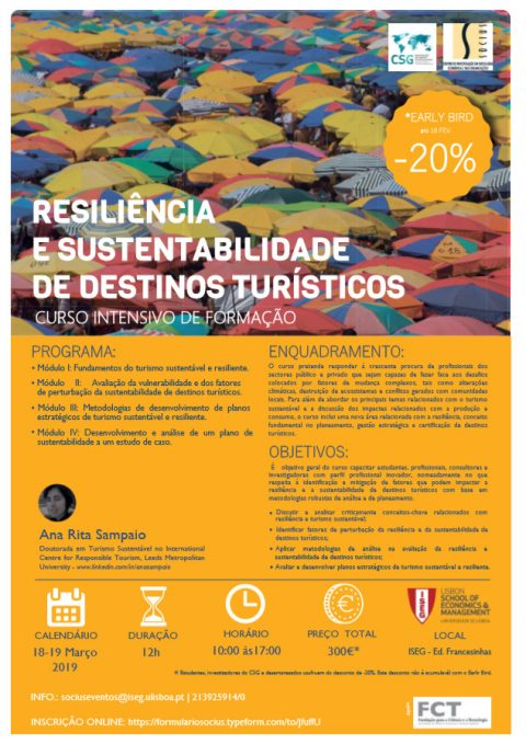 8-19 MAR 2019 | Intensive Training Course on Resilience and Sustainability of Tourist Destinations – Open registration