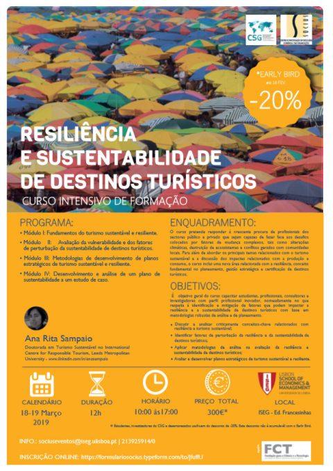 18-19 MAR 2019 | Curso Intensivo de Formação em Resiliência e Sustentabilidade de Destinos Turísticos – Inscrições abertas