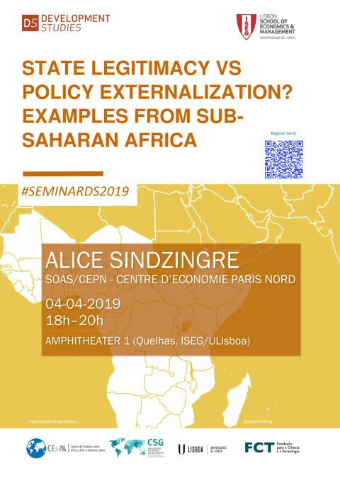 4 APR, 6 p.m. | State Legitimacy vs Policy Externalization? Examples From SubSaharan Africa, by Alice Sindzingre