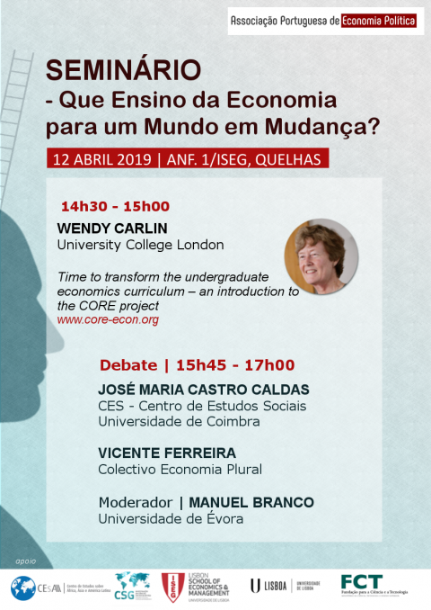 "12 APR 2019 | Seminar ""How teaching economics to a changing world?"", and Debate"