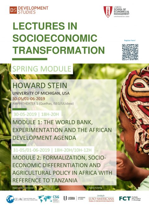 "30-31 MAY/1 JUN 2019 | Spring Module ""Lectures in Socioeconomic Transformation"", by Howard Stein (Michigan University, EUA)"