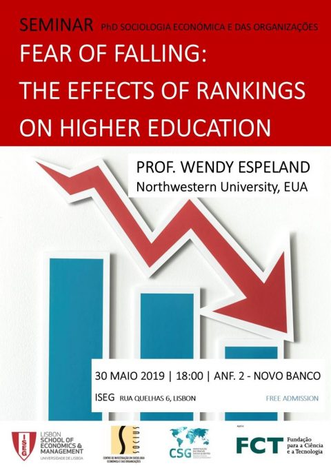"30 MAI 2019, 18h @ISEG | Seminário do Programa de Doutoramento em Sociologia Económica e das Organizações | ""Fear of Falling: The effects of Rankings"""