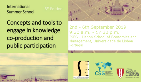 "Escola de Verão  Internacional ""Concepts and tools to engage in knowledge co-production and public participation"" – Cancelada"