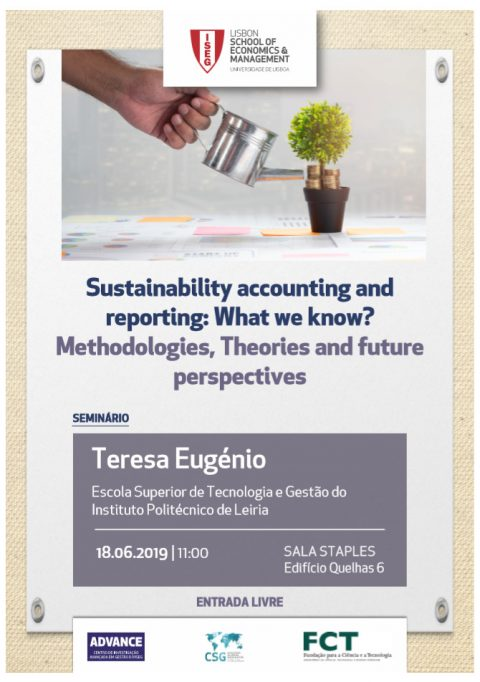 "18 JUN 2019 | Seminário ""Sustainability accounting and reporting: What we know? Methodologies, Theories and future perspectives"""