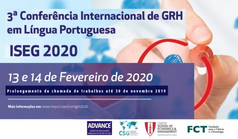 3ª Conferência Internacional de GRH em Língua Portuguesa – ISEG 2020 | Prolongamento da chamada de trabalhos