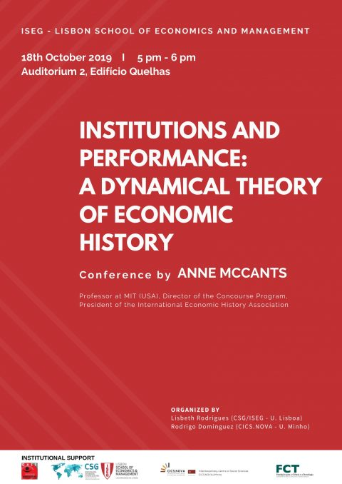 "Conference ""Institutions and Performance: A Dynamical Theory of Economic History"", by Anne McCants (MIT, USA)"