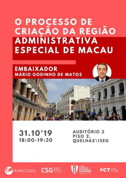 """Palestra """"O Processo de criação da região administrativa especial de Macau"""", com o Sr. Embaixador Mário Godinho de Matos"""