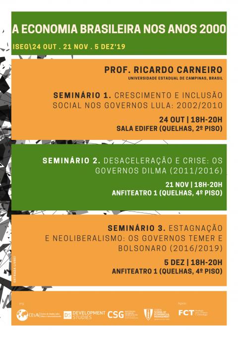 Ciclo de Seminários livres em Economia Brasileira nos Anos 2000, com o Prof. Ricardo Carneiro (UNICAMP)