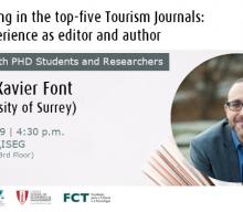 """Palestra """"Como publicar nas cinco principais revistas de turismo?"""", com Xavier Font (University of Surrey, UK)"""