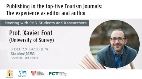 "Open lecture ""How to publish in the top-five tourism journals?"", with Xavier Font (University of Surrey, UK)"