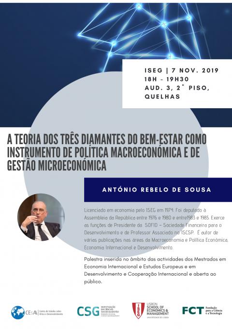 """Palestra """"A teoria dos três diamantes do bem-estar como instrumento de política macroeconómica e de gestão microeconómica"""", com António Rebelo de Sousa"""