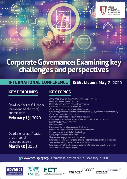 International Conference Corporate Governance: Examining Key Challenges and Perspectives – Chamada de trabalhos