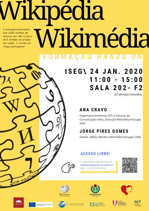 """Formação/Training """"hands on"""" Wikimédia/Wikipédia – Inscrições abertas!"""