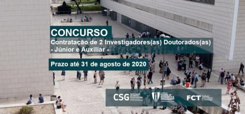 Contratação de 2 Investigadores(as) Doutorados(as) – Júnior e Auxiliar