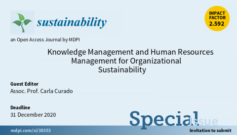 "Chamada de trabalhos para o Special Issue ""Knowledge Management and Human Resources Management for Organizational Sustainability"""