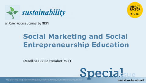 "Chamada de artigos para o Número Especial ""Social Marketing and Social Entrepreneurship Education"""