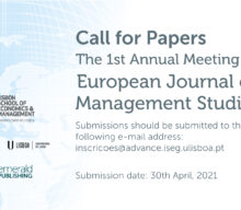 1st Annual Meeting of the European Journal of Management Studies – Chamada de Trabalhos