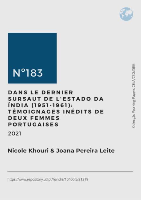 """Novo Working-Paper (nº 183/2021) """"Dans le dernier sursaut de l'Estado da Índia (1951-1961): témoignages inédits de deux femmes portugaises"""""""