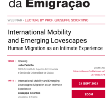 """Webinário """"International Mobility and Emerging Lovescapes. Human Migration as an Intimate Experience"""""""